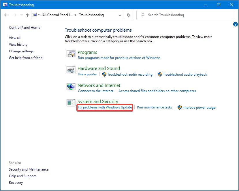 fix problems with windows update