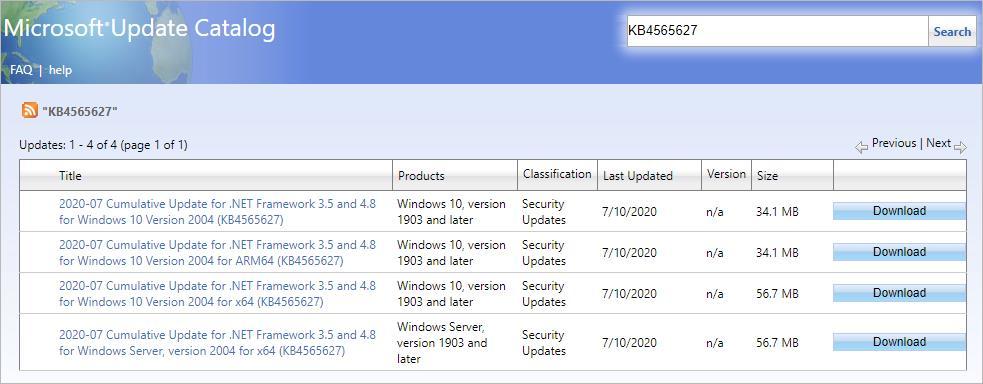 download update package