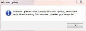 windows 10 update service not running