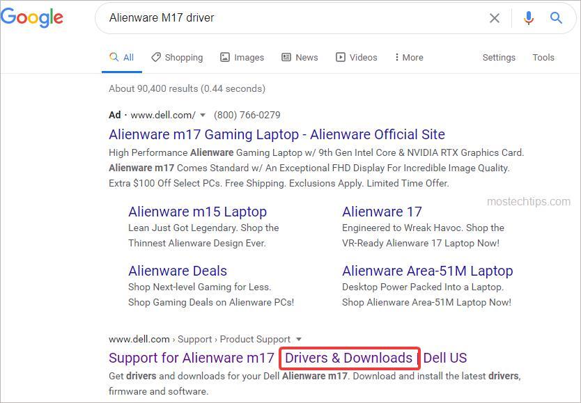 alienware driver download