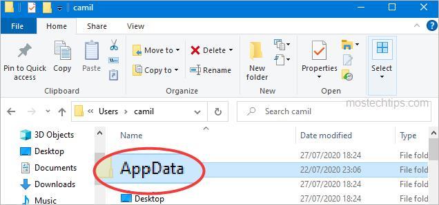 appdata folder is seen