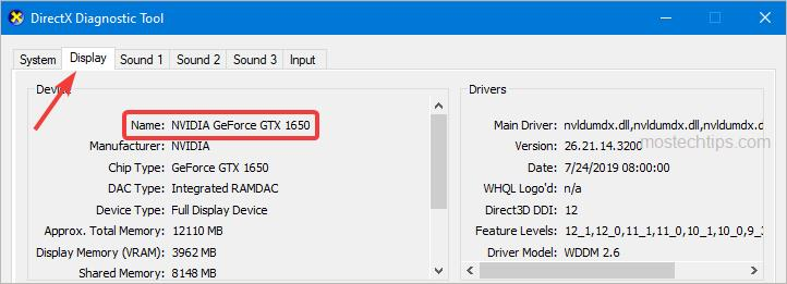 check graphics card information in directx diagnostic tool