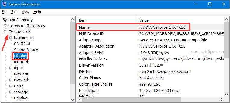 check graphics card information in system information