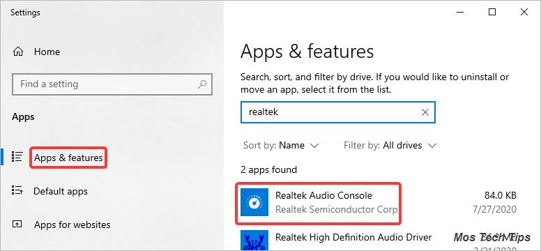 check if realtek audio console is installed