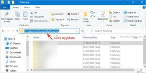 click appdata to open the folder
