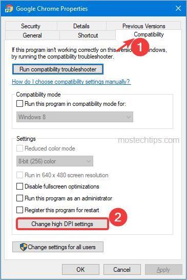 click change high dpi settings