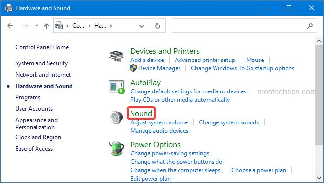 open the sound window from control panel