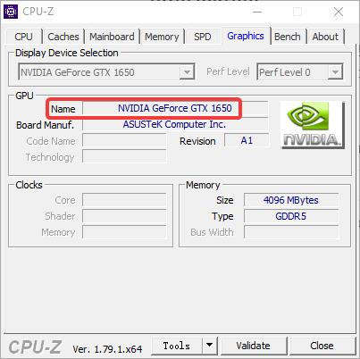 cpu-z graphics card information