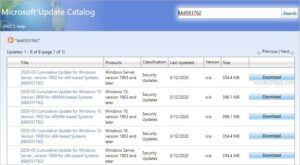 download update package from microsoft update catalog