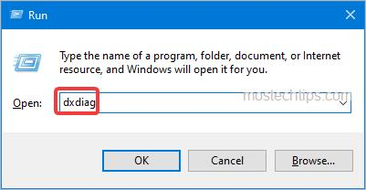 open directx diagnostic tool with the dxdiag command