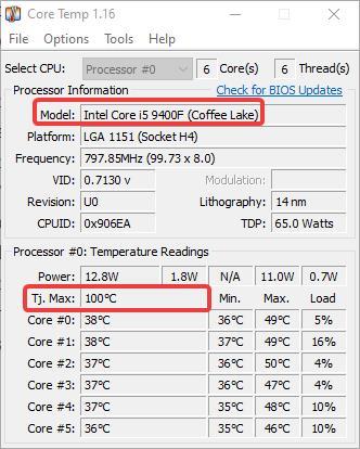 intel maximum temperature