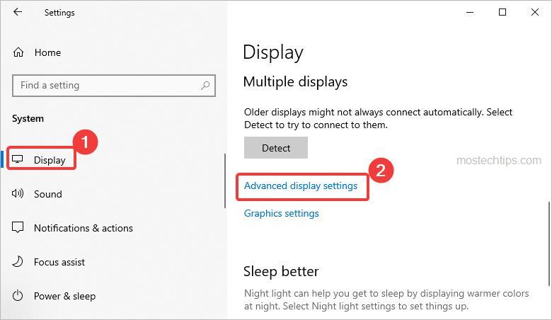 open advanced display settings