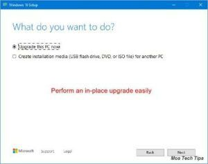perform an inplace upgrade easily 4