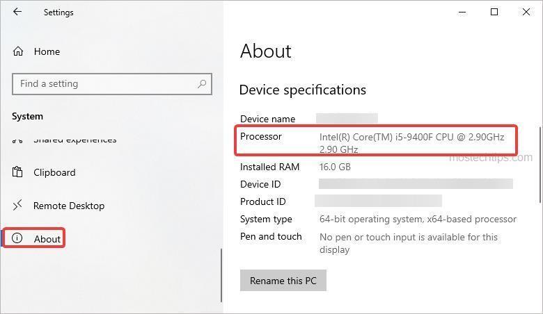 processor in settings