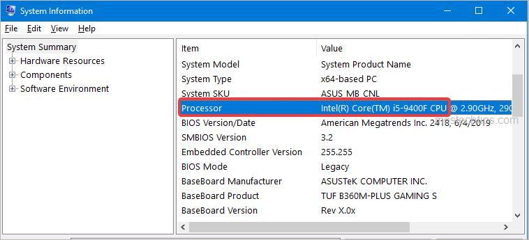 processor system information
