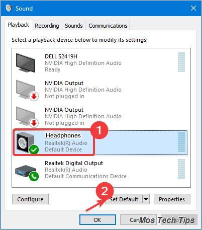 set audio device as default