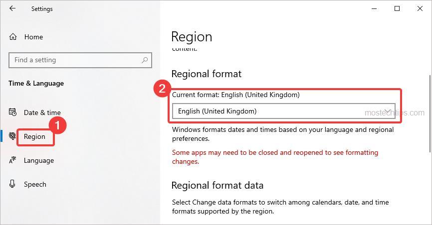 set current region format