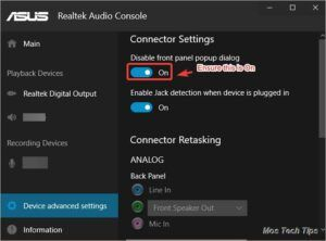turn on disable front panel popup dialog