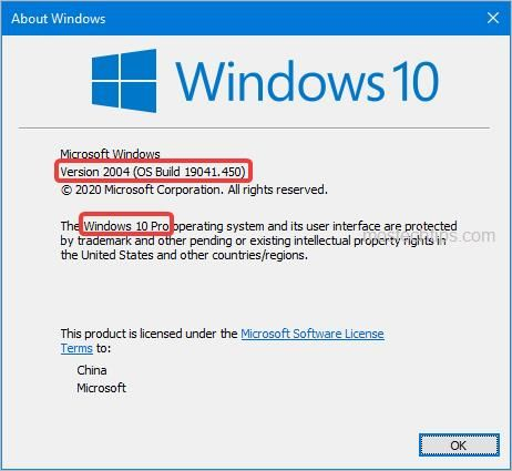 another ways to check windows version