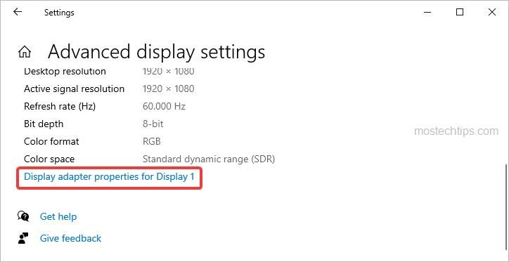 click the Display adapter properties for Display 1 link