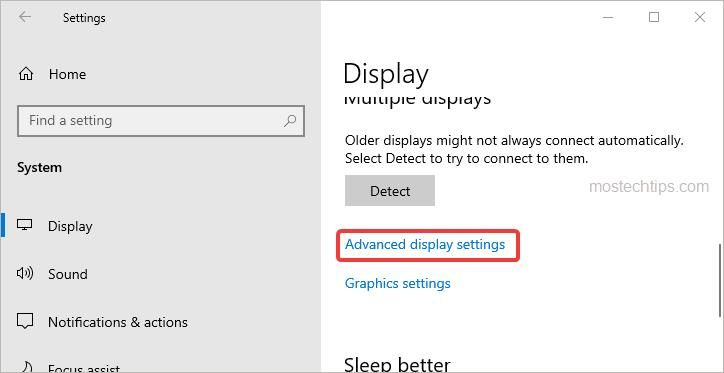 click the advanced display settings link