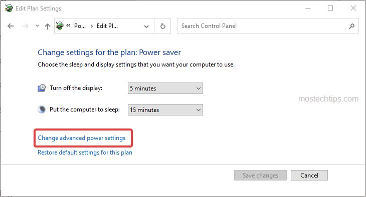 click change advanced power settings