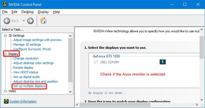 check if the Asus monitor is selected