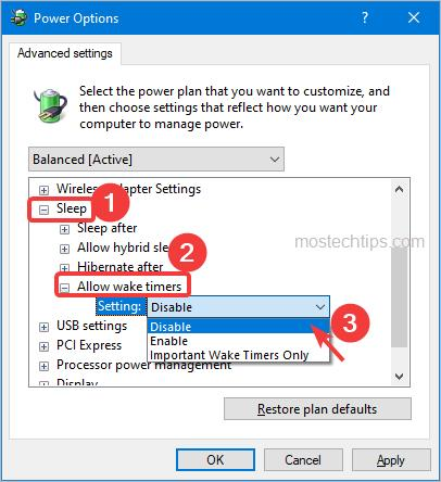 disable wake timers