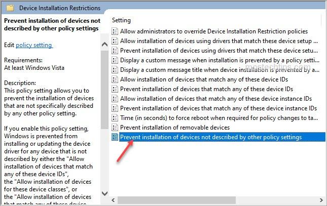 open prevent device installation settings