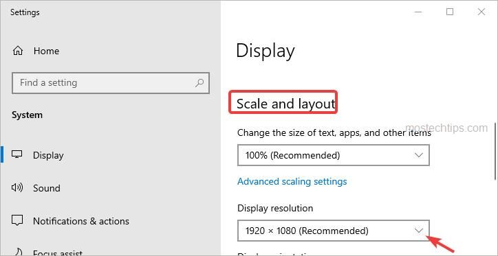 select a resolution for the monitor