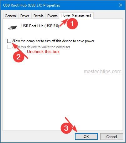 allow computer to turn off usb root hub to save power