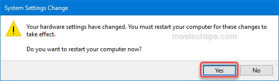 agree to restart the computer