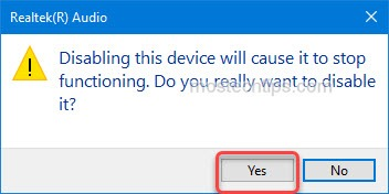continue to disable audio device
