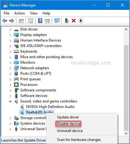 disable audio device