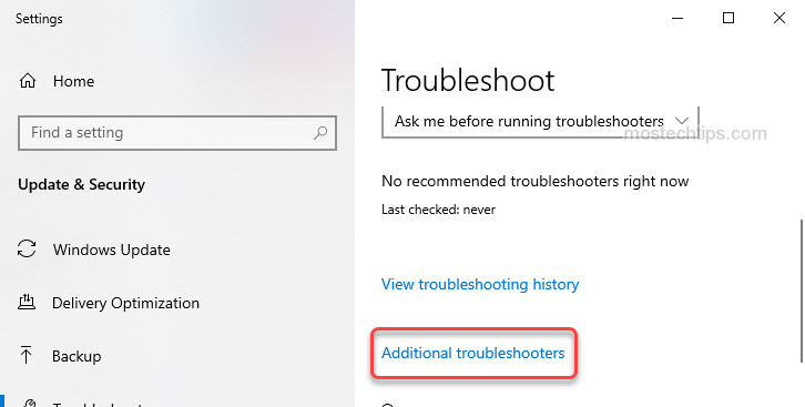 open additional troubleshooter