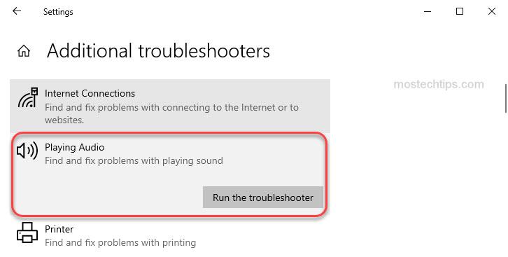 run audio troubleshooter