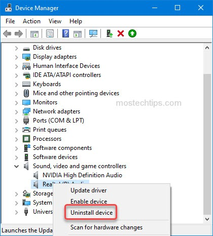 uninstall the audio card device