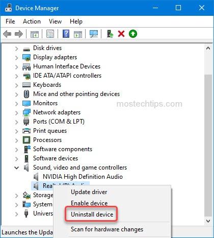 uninstall audio device