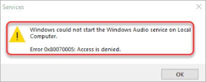 windows audio service access is denied