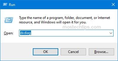 open the directx diagnostic box