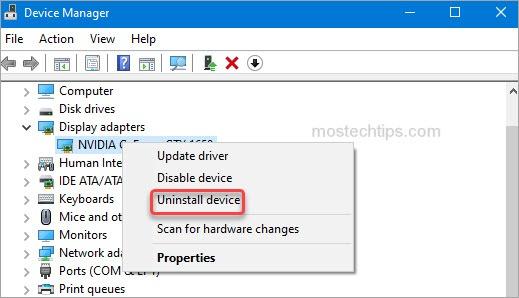 uninstall graphics card driver