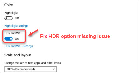 no hdr option in windows