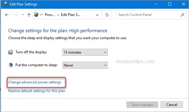 select change advanced power settings
