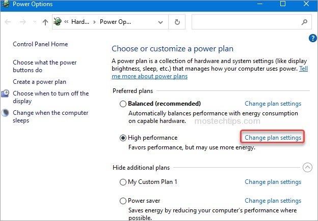 select change plan settings