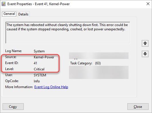 kernel power critical 41 error
