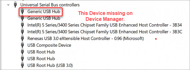 generic usb hub missing on device manager