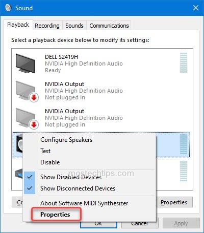 open speaker properties window