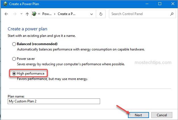 change power plan to high performance