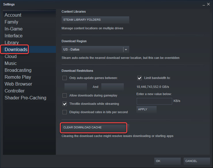 clear download cache