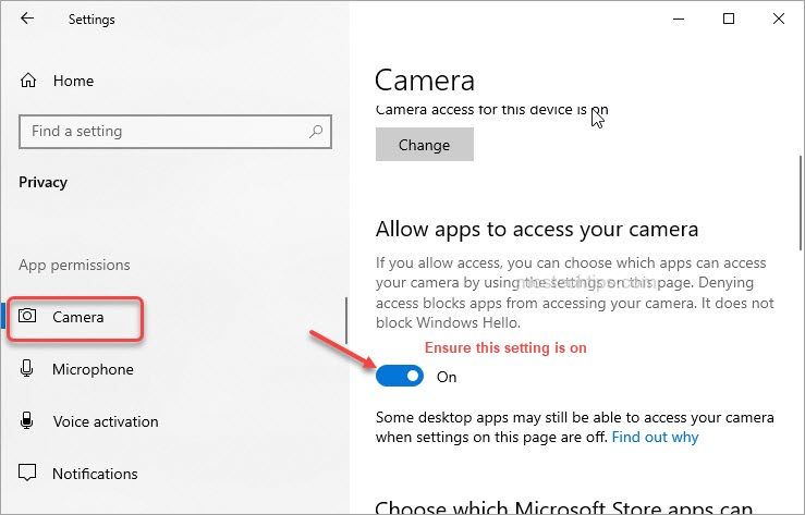 ensure allow apps to access your camera is on